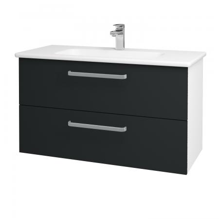 Dreja - Kúpeľňová skriňa GIO SZZ2 100 - N01 Bílá lesk / Úchytka T01 / L03 Antracit vysoký lesk (130763A)