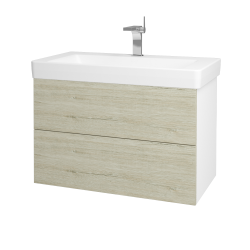 Dreja - Kúpeľňová skriňa VARIANTE SZZ2 85 - N01 Bílá lesk / D05 Oregon (164126)