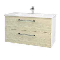 Dreja - Kúpeľňová skriňa GIO SZZ2 100 - N01 Bílá lesk / Úchytka T03 / D04 Dub (129637C)