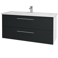Dreja - Kúpeľňová skriňa GIO SZZ2 120 - N01 Bílá lesk / Úchytka T02 / L03 Antracit vysoký lesk (130008B)