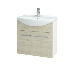Dreja - Kúpeľňová skriňa TAKE IT SZD2 65 - N01 Bílá lesk / Úchytka T02 / D05 Oregon (151966B)