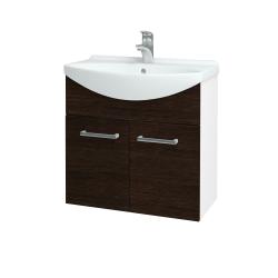 Dreja - Kúpeľňová skriňa TAKE IT SZD2 65 - N01 Bílá lesk / Úchytka T03 / D08 Wenge (151980C)