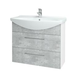 Dreja - Kúpeľňová skriňa TAKE IT SZZ2 85 - N01 Bílá lesk / Úchytka T03 / D01 Beton (153007C)