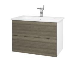 Dreja - Kúpeľňová skriňa VARIANTE SZZ2 80 (umývadlo Euphoria) - N01 Bílá lesk / D03 Cafe (160173)