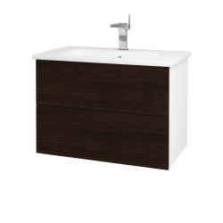 Dreja - Kúpeľňová skriňa VARIANTE SZZ2 80 (umývadlo Euphoria) - N01 Bílá lesk / D08 Wenge (160210)