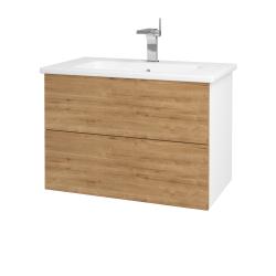 Dreja - Kúpeľňová skriňa VARIANTE SZZ2 80 (umývadlo Euphoria) - N01 Bílá lesk / D09 Arlington (160227)