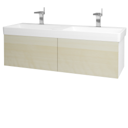 Dreja - Kúpeľňová skriňa VARIANTE SZZ2 130 - N01 Bílá lesk / D02 Bříza (164928)