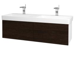 Dreja - Kúpeľňová skriňa VARIANTE SZZ2 130 - N01 Bílá lesk / D08 Wenge (164973)