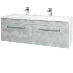 Dreja - Kúpeľňová skriňa ASTON SZZ2 120 - N01 Bílá lesk / Úchytka T01 / D01 Beton (131166AU)