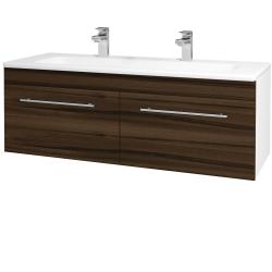 Dreja - Kúpeľňová skriňa ASTON SZZ2 120 - N01 Bílá lesk / Úchytka T02 / D06 Ořech (131210BU)