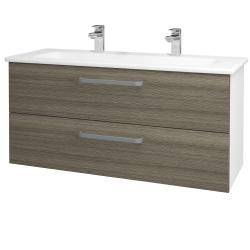 Dreja - Kúpeľňová skriňa GIO SZZ2 120 - N01 Bílá lesk / Úchytka T01 / D03 Cafe (129910AU)
