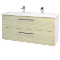 Dreja - Kúpeľňová skriňa GIO SZZ2 120 - N01 Bílá lesk / Úchytka T01 / D04 Dub (129927AU)