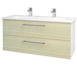 Dreja - Kúpeľňová skriňa GIO SZZ2 120 - N01 Bílá lesk / Úchytka T02 / D04 Dub (129927BU)