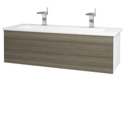 Dreja - Kúpeľňová skriňa VARIANTE SZZ 120 (umývadlo Euphoria) - N01 Bílá lesk / D03 Cafe (161033U)