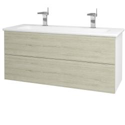 Dreja - Kúpeľňová skriňa VARIANTE SZZ2 120 (umývadlo Euphoria) - N01 Bílá lesk / D05 Oregon (161330U)