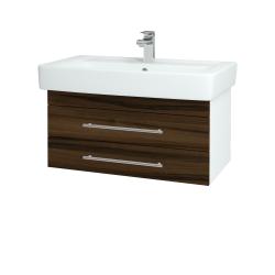 Dreja - Kúpeľňová skriňa Q ZÁSUVKOVÉ SZZ2 80 - N01 Bílá lesk / Úchytka T02 / D06 Ořech (151898B)