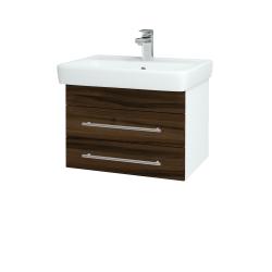 Dreja - Kúpeľňová skriňa Q ZÁSUVKOVÉ SZZ2 60 - N01 Bílá lesk / Úchytka T02 / D06 Ořech (151836B)