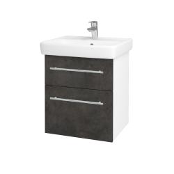 Dreja - Kúpeľňová skriňa Q MAX SZZ2 55 - N01 Bílá lesk / Úchytka T02 / D16 Beton tmavý (198046B)