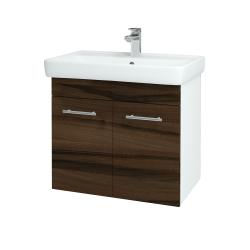 Dreja - Kúpeľňová skriňa Q DVEROVÉ SZD2 70 - N01 Bílá lesk / Úchytka T02 / D06 Ořech (151812B)