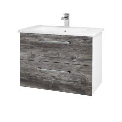 Dreja - Kúpeľňová skriňa GIO SZZ2 80 - N01 Bílá lesk / Úchytka T03 / D10 Borovice Jackson (146290C)