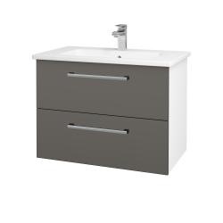 Dreja - Kúpeľňová skriňa GIO SZZ2 80 - N01 Bílá lesk / Úchytka T03 / N06 Lava (202231C)