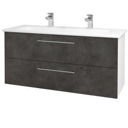 Dreja - Kúpeľňová skriňa GIO SZZ2 120 - N01 Bílá lesk / Úchytka T02 / D16 Beton tmavý (202958BU)