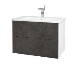 Dreja - Kúpeľňová skriňa VARIANTE SZZ2 80 (umývadlo Euphoria) - N01 Bílá lesk / D16 Beton tmavý (188931)