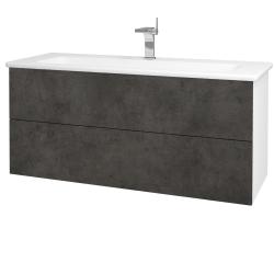 Dreja - Kúpeľňová skriňa VARIANTE SZZ2 120 (umývadlo Euphoria) - N01 Bílá lesk / D16 Beton tmavý (190637)
