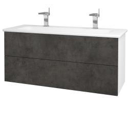Dreja - Kúpeľňová skriňa VARIANTE SZZ2 120 (umývadlo Euphoria) - N01 Bílá lesk / D16 Beton tmavý (190637U)