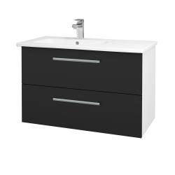 Dreja - Kúpeľňová skriňa GIO SZZ2 90 - N01 Bílá lesk / Úchytka T03 / L03 Antracit vysoký lesk (202637C)