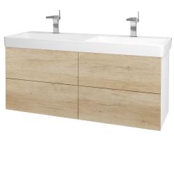 Dreja - Kúpeľňová skriňa VARIANTE SZZ4 130 - N01 Bílá lesk / D15 Nebraska (196219)