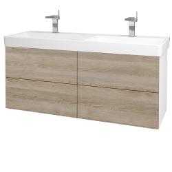 Dreja - Kúpeľňová skriňa VARIANTE SZZ4 130 - N01 Bílá lesk / D17 Colorado (196233)