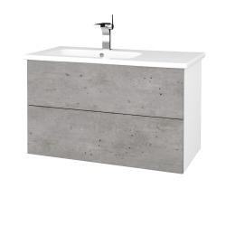 Dreja - Kúpeľňová skriňa VARIANTE SZZ2 90 (umývadlo Euphoria) - N01 Bílá lesk / D01 Beton (189235)