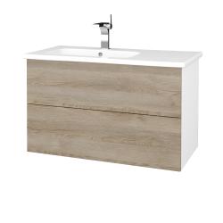 Dreja - Kúpeľňová skriňa VARIANTE SZZ2 90 (umývadlo Euphoria) - N01 Bílá lesk / D17 Colorado (189358)