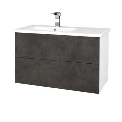 Dreja - Kúpeľňová skriňa VARIANTE SZZ2 90 (umývadlo Euphoria) - N01 Bílá lesk / D16 Beton tmavý (189341)