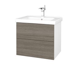 Dreja - Kúpeľňová skriňa VARIANTE SZZ2 65 (umývadlo Harmonia) - N01 Bílá lesk / D03 Cafe (191405)