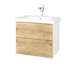 Dreja - Kúpeľňová skriňa VARIANTE SZZ2 65 (umývadlo Harmonia) - N01 Bílá lesk / D09 Arlington (191450)