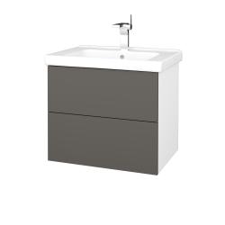 Dreja - Kúpeľňová skriňa VARIANTE SZZ2 65 (umývadlo Harmonia) - N01 Bílá lesk / N06 Lava (191580)