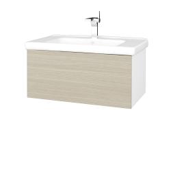 Dreja - Kúpeľňová skriňa VARIANTE SZZ 80 (umývadlo Harmonia) - N01 Bílá lesk / D04 Dub (191863)