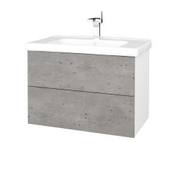 Dreja - Kúpeľňová skriňa VARIANTE SZZ2 80 (umývadlo Harmonia) - N01 Bílá lesk / D01 Beton (192280)