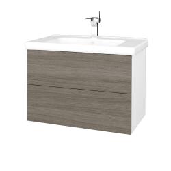Dreja - Kúpeľňová skriňa VARIANTE SZZ2 80 (umývadlo Harmonia) - N01 Bílá lesk / D03 Cafe (192303)