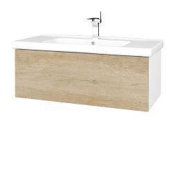 Dreja - Kúpeľňová skriňa VARIANTE SZZ 100 (umývadlo Harmonia) - N01 Bílá lesk / D15 Nebraska (192822)