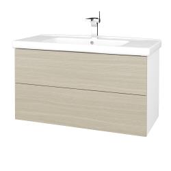 Dreja - Kúpeľňová skriňa VARIANTE SZZ2 100 (umývadlo Harmonia) - N01 Bílá lesk / D04 Dub (193218)