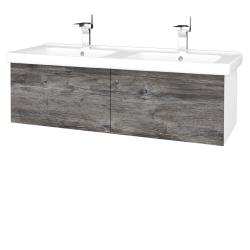 Dreja - Kúpeľňová skriňa VARIANTE SZZ2 125 (umývadlo Harmonia) - N01 Bílá lesk / D10 Borovice Jackson (193713)