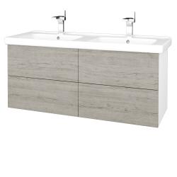 Dreja - Kúpeľňová skriňa VARIANTE SZZ4 125 (umývadlo Harmonia) - N01 Bílá lesk / D05 Oregon (194123)