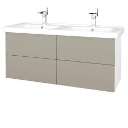 Dreja - Kúpeľňová skriňa VARIANTE SZZ4 125 (umývadlo Harmonia) - N01 Bílá lesk / L04 Béžová vysoký lesk (194246)