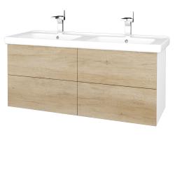 Dreja - Kúpeľňová skriňa VARIANTE SZZ4 125 (umývadlo Harmonia) - N01 Bílá lesk / D15 Nebraska (194185)