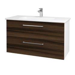 Dreja - Kúpeľňová skriňa GIO SZZ2 100 - N01 Bílá lesk / Úchytka T04 / D06 Ořech (129651E)