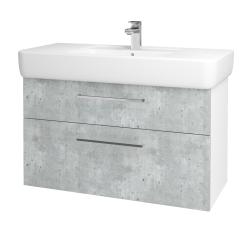 Dreja - Kúpeľňová skriňa Q MAX SZZ2 100 - N01 Bílá lesk / Úchytka T04 / D01 Beton (131791E)