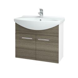 Dreja - Kúpeľňová skriňa TAKE IT SZD2 75 - N01 Bílá lesk / Úchytka T04 / D03 Cafe (152031E)